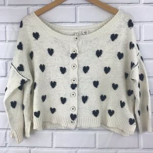 Moth Anthropologie Heart Intarsia Button Sweater